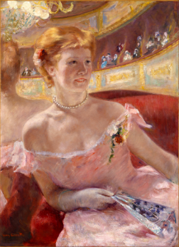 A woman enjoying a Parisian performance (Woman With a Pearl Necklace in a Loge, by Mary Cassatt)